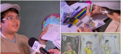8-godišnji dečak crta Panini sličice Svetskog prvenstva jer nema para da sakuplja album