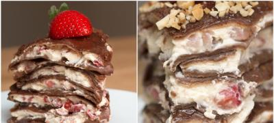 """Dеzert dana: """"Kula"""" оd čokoladnih palačinki, krema i jagoda"""